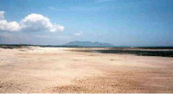 The beach at San Carlos at low tide. The Pacific side tide is about 21 feet. The mountain in background is La Negra Vieja (the Old Negro Woman)