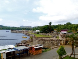 The fort of San Geronimo is located inside the town of Portobelo, right acroos from the old customs house
