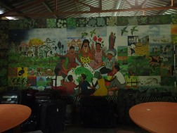 The mural in the dining room depicts Darien life and its community