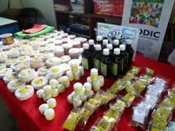 Products from the medicinal plants project, ready for sale