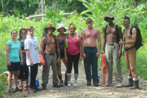Students working at the community